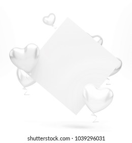 Silver and white baloons in the shape of heart with white card on center isolated on white background. 3D illustration of holidays, party, birthday baloons