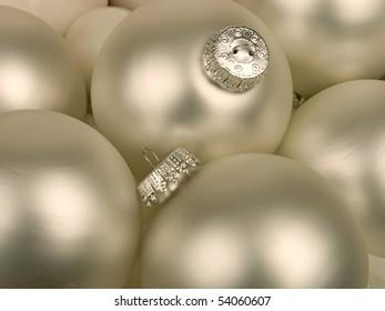 silver white Christmas ornaments