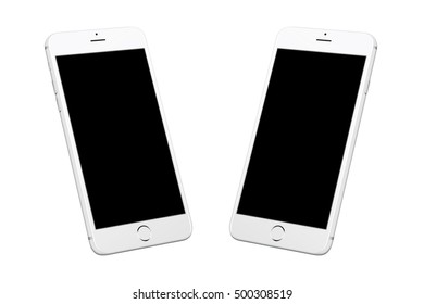 Silver white modern smart phone isolated. Two isometric positions. Blank screen for mockup.
