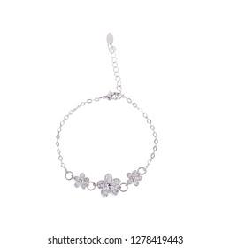 Silver women modern bracelet on white background