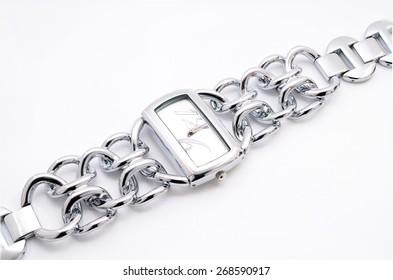 silver women's wrist watch on a white background