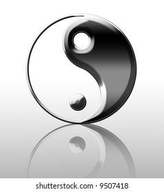 Silver yin yang symbol on a white background