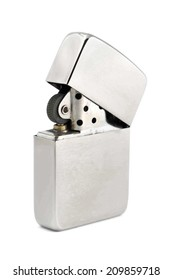 Silver zippo lighter isolated on a white background