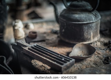 At silversmith's workshop with traditional tools
