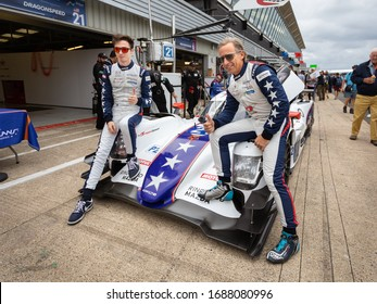Silverstone Circuit, England. 08/31/2019. Drivers James Allen and Henrik Hedman pose for photos on their Dragonspeed Oreca Gibson LMP2 car. ELMS 4 Hours of Silverstone