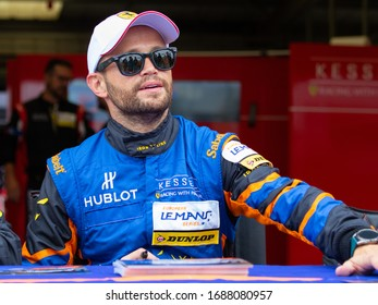 Silverstone Circuit, England. 08/31/2019. Race driver Giacomo Piccini, Realteam Racing LMP3. Autograph signing session for the ELMS 4 Hours of Silverstone