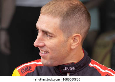 Silverstone Circuit, England. 08/31/2019. Race driver Matteo Cressoni, JMW Motorsport Ferrari F488. Autograph signing session for the ELMS 4 Hours of Silverstone
