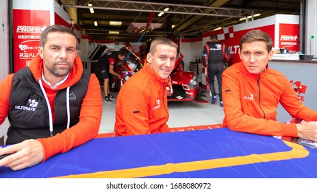 Silverstone Circuit, England. 08/31/2019. Race drivers François Heriau, Jean-Baptiste Lahaye and Mathieu Lahaye, Team Ultimate LMP3. Autograph signing session for the ELMS 4 Hours of Silverstone.
