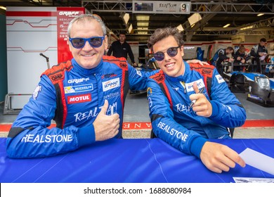 Silverstone Circuit, England. 08/31/2019. Race drivers Esteban Garcia and David Droux, Realteam Racing LMP3. Autograph signing session for the ELMS 4 Hours of Silverstone