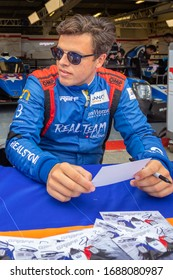 Silverstone Circuit, England. 08/31/2019. Race driver David Droux, Realteam Racing LMP3. Autograph signing session for the ELMS 4 Hours of Silverstone