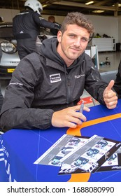 Silverstone Circuit, England. 08/31/2019. Race driver Riccardo Pera, Dempsey-Proton Racing. Autograph signing session for the ELMS 4 Hours of Silverstone