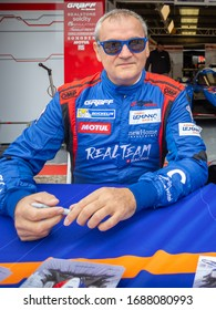 Silverstone Circuit, England. 08/31/2019. Race driver Esteban Garcia, Realtem Racing LMP3. Autograph signing session for the ELMS 4 Hours of Silverstone