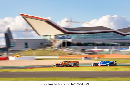 Silverstone Circuit, England, 31 Aug 2019. G-Drive Racing LMP2 car at Club with the Silverstone Wing in the background. ELMS 4 Hours of Silverstone 2019