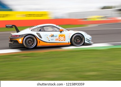 Silverstone Circuit, England. August 17 2018. This Gulf Racing Porsche and drivers entered for both the ELMS 4 Hours on Saturday and the WEC 6 Hours of Silverstone on Sunday of the same weekend.