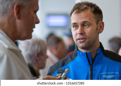 Silverstone Circuit, England, August 18 2018: Post conference media access, WEC 6 Hours of Silverstone 2018. Jonathan Adam, driver for TF Sport Aston Martin Vantage