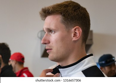 Silverstone Circuit, England, August 18 2018: Profile view of Nick Catsburg, driver for BMW Team MTEK. Post conference media access, WEC 6 Hours of Silverstone 2018