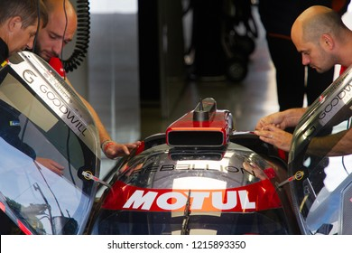 Silverstone Circuit, Northamptonshire, England. August 17 2018. Rebellion Racing LMP1 race car being prepared by pit crew for the WEC 6 Hours of Silverstone