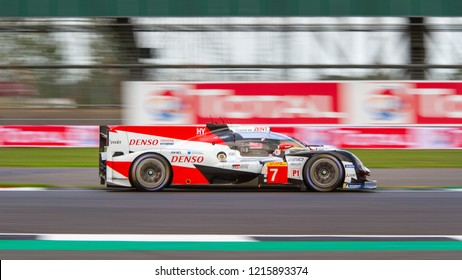 Silverstone Circuit, Northamptonshire, England, August 17 2018. #7 LMP1 Toyota Hybrid on track during the WEC 6 Hours of Silverstone
