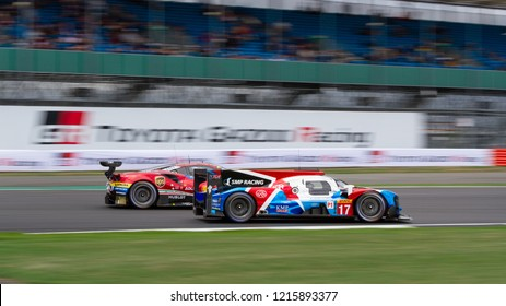 Silverstone Circuit, Northamptonshire, England, August 19 2018. #17 SMP Racing LMP1 overtakes a Ferrari GTE during the WEC 6 Hours of Silverstone