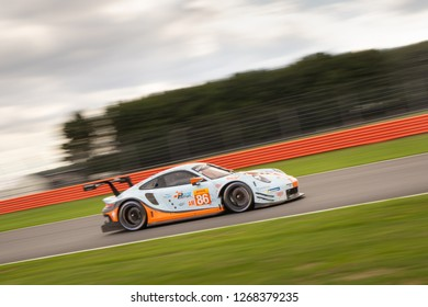 Silverstone Circuit, Northamptonshire, England, August 19 2018. #86 Gulf Racing Porsche 911RSR LMGTE on Wellington Straight during WEC 6 Hours of Silverstone.