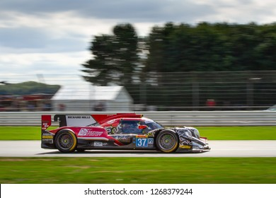 Silverstone Circuit, Northamptonshire, England, August 19 2018. #37 Jackie Chan Racing Oreca 07 Gibson LMP1 speeds down the Wellington Straight during the WEC 6 Hours of Silverstone.