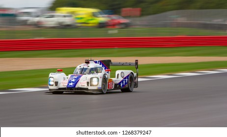 Silverstone Circuit, Northamptonshire, England, August 19 2018. #10 Dragonspeed BR Engineering BR1 Gibson LMP1 car heads down the Hangar Straight. WEC 6 Hours of Silverstone.