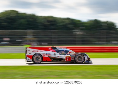 Silverstone Circuit, Northamptonshire, England, August 19 2018. #7 Toyota Gazoo Racing LMP1 Hybrid speeds along the Wellington Straight. WEC 6 Hours of Silverstone.
