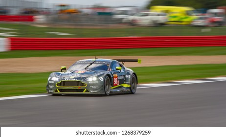 Silverstone Circuit, Northamptonshire, England, August 19 2018, #98 Aston Martin Racing, Aston Martin Vantage speeds down the Hangar Straight during the WEC 6 Hours of Silverstone.