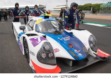 Silverstone Circuit, Northamptonshire, England, August 18 2018. Ecurie Ecosse/Nielsen Racing LMP3 pushed into position on the start grid of the ELMS 4 Hours of Silverstone 2018.