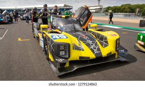 Silverstone Circuit, Northamptonshire, England, August 18 2018. High Class Racing LMP2 pushed into position on the start grid of the ELMS 4 Hours of Silverstone 2018.