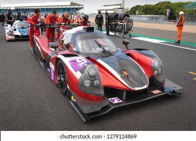 Silverstone Circuit, Northamptonshire, England, August 18 2018. AT Racing LMP3 pushed into position on the start grid of the ELMS 4 Hours of Silverstone 2018.