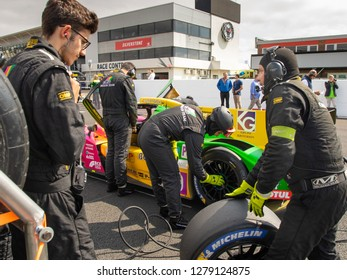 Silverstone Circuit, Northamptonshire, England, August 18 2018. Oregon Team LMP2 prepared on the start grid of the ELMS 4 Hours of Silverstone 2018.