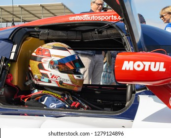 Silverstone Circuit, Northamptonshire, England, August 18 2018. United Autosports LMP3 pilot Garret Grist waits in the car on the grid. ELMS 4 Hours of Silverstone 2018.