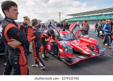 Silverstone Circuit, Northamptonshire, England, August 18 2018. Ultimate LMP3 race car prepared on the start grid of the ELMS 4 Hours of Silverstone 2018.