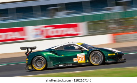 Silverstone Circuit, Northamptonshire, England, August 18 2018. Spirit of Race Ferrari 488 GTE close up and at great speed, ELMS 4 Hours of Silverstone 2018.