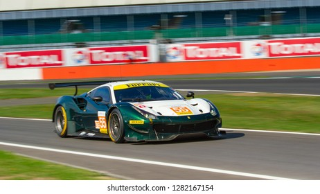 Silverstone Circuit, Northamptonshire, England, August 18 2018. Spirit of Race Ferrari 488 GTE exits from pit lane, ELMS 4 Hours of Silverstone 2018.