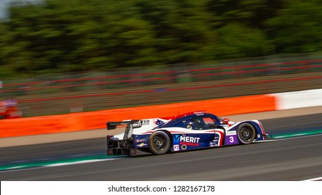 Silverstone Circuit, Northamptonshire, England, August 18 2018. United Autosports Ligier JS P3 - Nissan LMP3 at great speed between Copse and Maggotts, ELMS 4 Hours of Silverstone 2018.