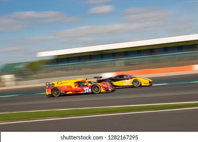 Silverstone Circuit, Northamptonshire, England, August 18 2018. Racing Engineering Oreca 07 - Gibson LMP2 overtaking a Ferrari 488 GTE between Copse and Maggots, ELMS 4 Hours of Silverstone 2018.