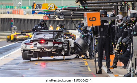 Silverstone Circuit, UK, Aug 29 - Sept 1 2019. Busy pit lane with Dempsey-Proton Racing Porsche pit stop. WEC 4 Hours of Silverstone