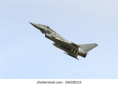 SILVERSTONE, ENGLAND - JULY 6:  A Royal Air Force Eurofighter Typhoon gives a display prior to qualifying for the British Grand Prix on July 6, 2015.