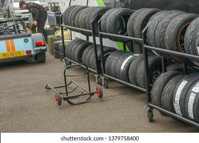 Silverstone, Northamptonshire and Buckinghamshire, England, United Kingdom 10 April 2019 caterham tires