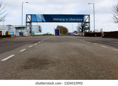 Silverstone, Northamptonshire / UK - February 9, 2019 - Welcome to Silverstone entrance sign.