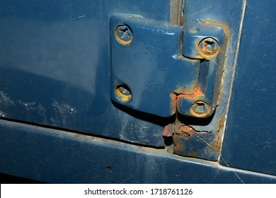 Silverstone, Northamptonshire/ United Kingdom - April 30 2020 - A common feature on old Land Rovers is rust, especially on doors and the bulkhead, this 1988 example is no exception