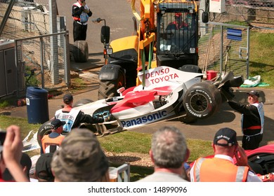SILVERSTONE, UK - JULY 4: Jano Trulli's Toyota after crashing during practice at the Silverstone British F1 Grand Prix 2008