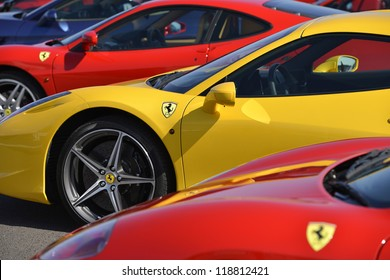 SILVERSTONE, UNITED KINGDOM- SEPTEMBER 17 2012:  A world record 964 Ferrari Cars Parade Around Silverstone F1 circuit . Silverstone September 17, 2012 in Silverstone, United Kingdom.