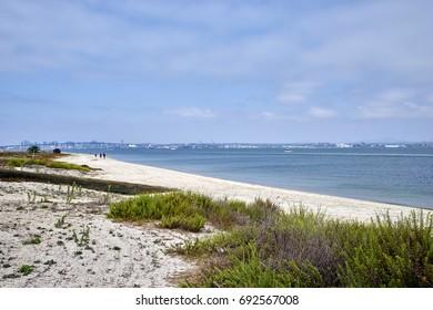 Silverstrand beach on Coronado Island, looking towards San Diego