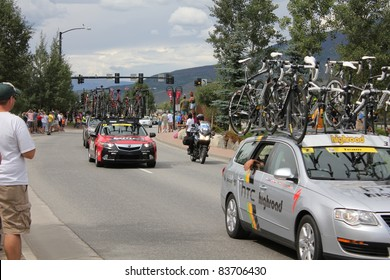 SILVERTHORNE, CO - AUGUST 27:USA PRO Cycling Challenge Stage 5 cyclists ride from Steamboat Springs to Breckenridge, Colorado, August 27, 2011 in Silverthorne, CO.