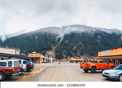 SILVERTON, CO, USA - OCTOBER 7, 2018: looking down a road in Silverton toward the first snow of the season on the mountains above town.