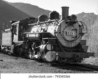 Silverton, Colorado USA - October 20, 2012: Vintage Denver and Rio Grande Western steam locomotive 493, K-37 class railroad engine and tender at the Durango and Silverton Narrow Gauge Railroad station