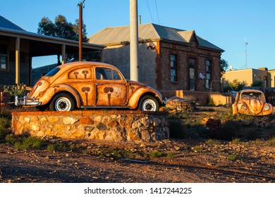SILVERTON, NEW SOUTH WALES, AUSTRALIA - 24 OCTOBER 2010: Iconic street scene in the outback mining town of Silverton featuring painted VW's, a popular tourist destination just outside Broken Hill.